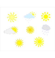 Various sun and cloud icons vector