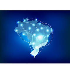 Brazil country map polygonal with spot lights vector