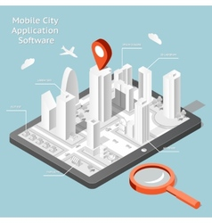Paper mobile city navigation application software vector