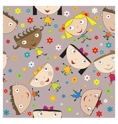 Seamless happy children vector
