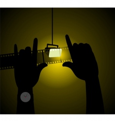 Two hands with light vector