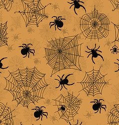 Seamless pattern with spiders on an orange vector
