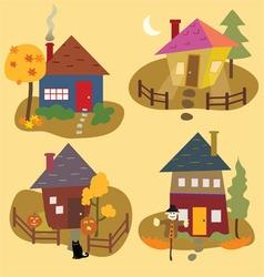 Autumn home icons vector
