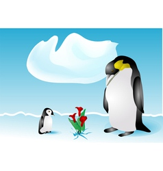 Penguins and flowers vector
