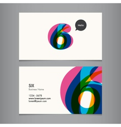 Business card with number 6 vector