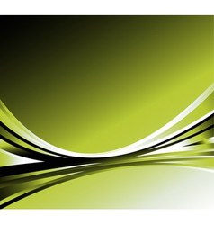 Abstract wave background green color glowing vector