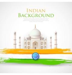 Taj mahal with tricolor india flag vector