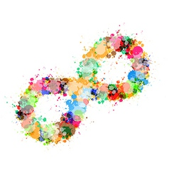 Abstract colorful stain splash infinity symbol vector