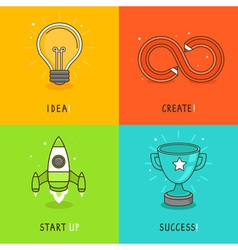 Start up concepts in bright colors vector