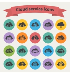 Black cloud service icons set vector