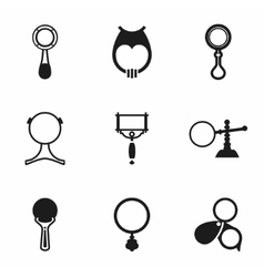 Magnufer glass icon set vector