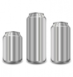 Three aluminum jar vector