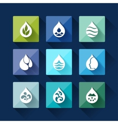 Water drop icons in flat design style vector