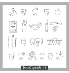 Set of dentistry symbols part 1 vector