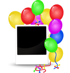 Birthday background with balloons and photo frame vector