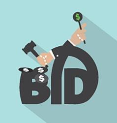 Auction or bid typography design vector