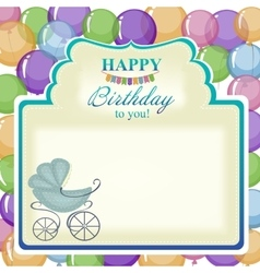 Childrens greeting background with blue stroller vector