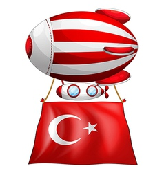 The flag of turkey attached to the floating vector