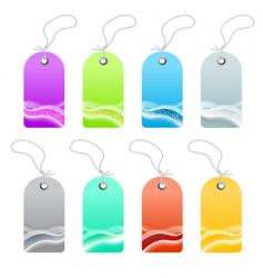 Waved lined art retail tags vector