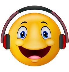 Emoticon with headphones vector