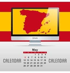 Calendar with map of countries vector