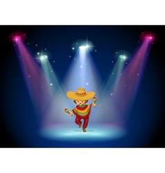 A stage with a young girl dancing in the middle vector