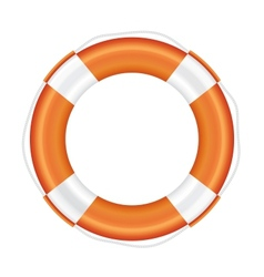 Orange lifebuoy with white stripes and rope vector