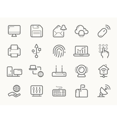 Network communication and electronics line icons vector