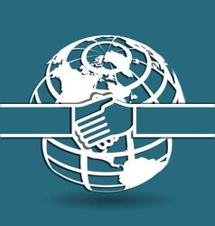 Globe and handshake vector