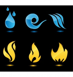 Water and fire glossy icons vector