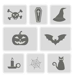 Icons with symbols of halloween vector