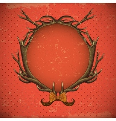 Vintage roses card with deer antlers vector