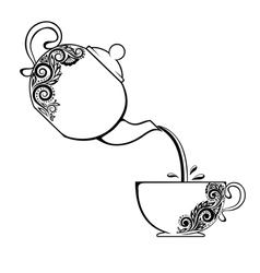 Cup and teapot with floral element vector