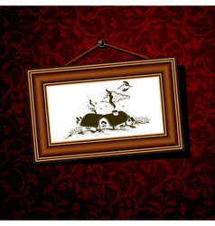 Vintage baguette frame with christmas illage 02 vector