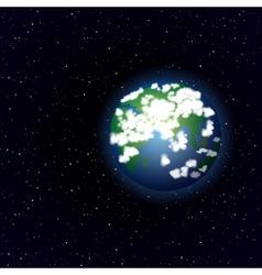 Cartoon earth in open space vector