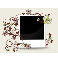 Old photograph with floral ornament vector