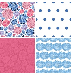 Mosaic flowers set of four matching repeat vector