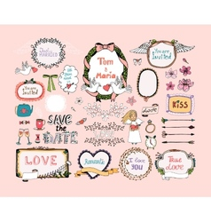 Hand drawn design elements for wedding invitations vector