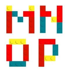 Alphabet set made of toy construction brick blocks vector