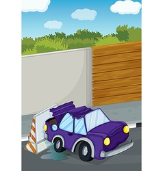 A violet car bumping the wall vector