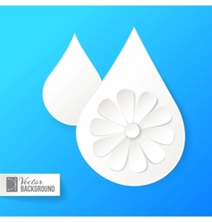 White paper drop and flower vector