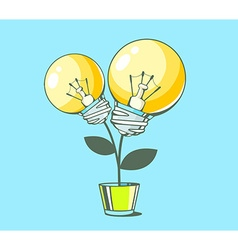 Yellow lightbulbs growing in pot on blue vector
