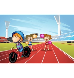 Kids and race track vector