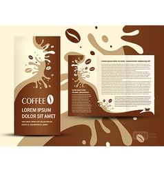 Brochure folder coffee beans element design vector