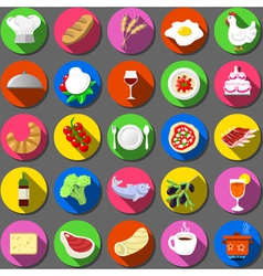 Twenty five flat icon italian food collection vector