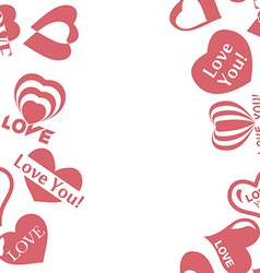 Heart pattern to valentines day seamless frame vector
