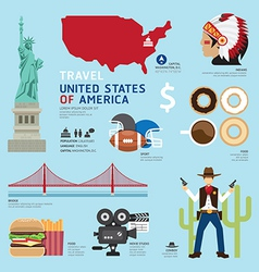 Travel concept usa landmark flat icons design vector