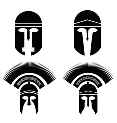Roman and greek helmets vector
