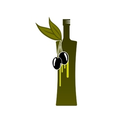 Natural olive oil bottle icon vector