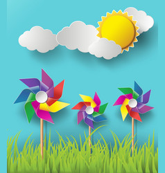 Wind mill with cloud vector